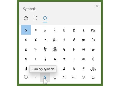 Windows 10 Symbols Panel