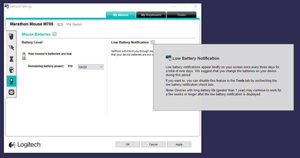 Logitech wireless mouse low battery notification settings