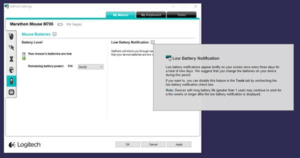 Logitech wireless mouse low battery notification settings